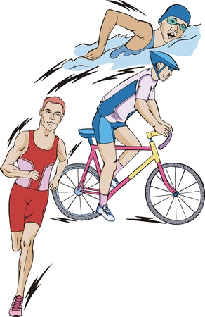 Triathlon: swimming, cycling, and running.  Illustration