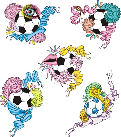 Stylized soccer balls with ribbons.