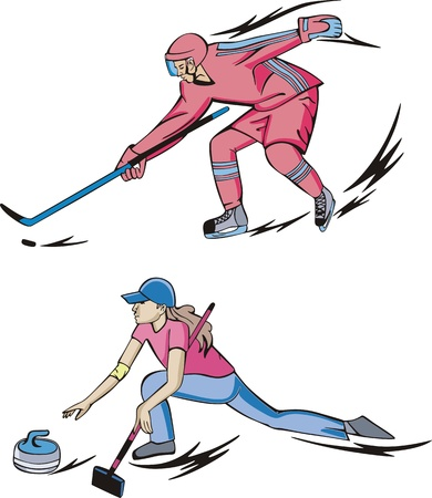 curling: Winter team sports: Ice hockey and Curling.