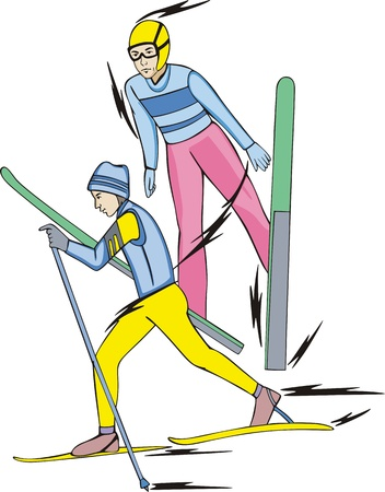 Skiing - winter sports: Nordic Combined. Skiers.  Vector