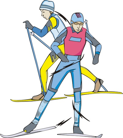 Skiing - winter sports. Skiers.