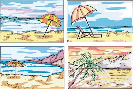 Sunny beach sketches. Set of vector illustrations. Stock Vector - 15101439