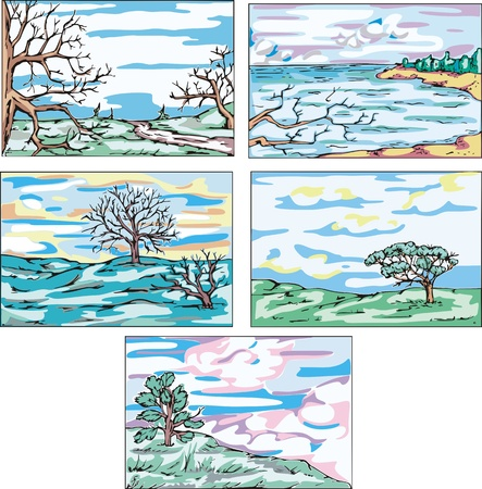 Sketches of landscapes with trees. Set of vector illustrations. Stock Vector - 15101441
