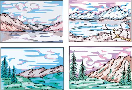 Sketches of mountain landscapes. Set of vector illustrations. Stock Vector - 15101438