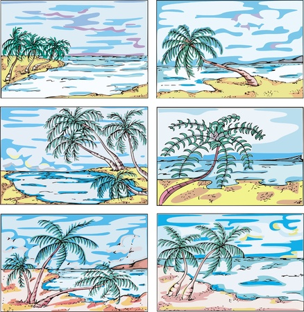 Sketches of landscapes with palm trees on sea coast. Set of vector illustrations. Stock Vector - 15101445