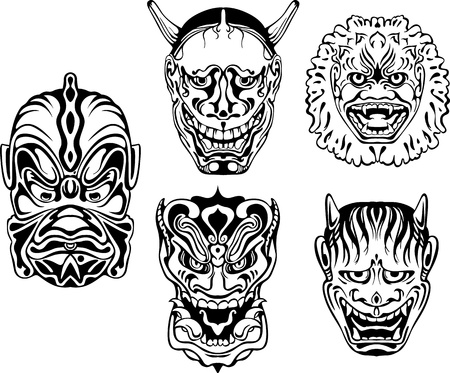theatrical performance: Japanese Demonic Noh Theatrical Masks. Set of black and white vector illustrations.