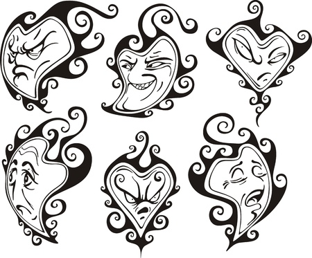 Heart shaped faces. Set of black and white vector illustrations in cartoon style. Vector