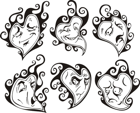 Heart shaped faces. Set of black and white vector illustrations in cartoon style. Stock Vector - 15101420