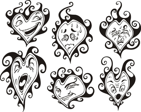 Heart shaped faces. Set of black and white vector illustrations in cartoon style. Stock Vector - 15101421