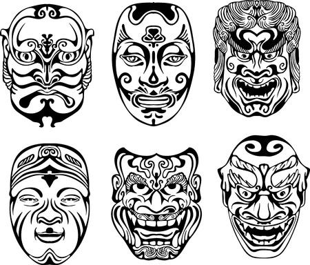 maski: Japoński Nogaku Teatralne maski. Zestaw czarno-białych ilustracji wektorowych.