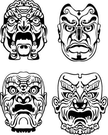 Japanese Noh Theatrical Masks. Set of black and white vector illustrations. Vector