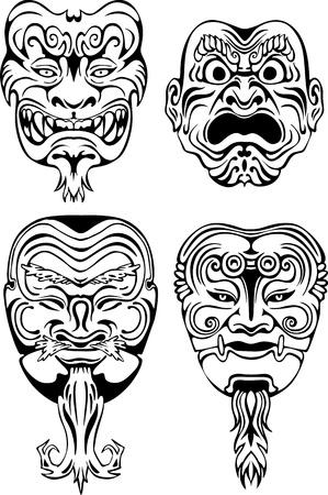 Japanese Noh Theatrical Masks. Set of black and white vector illustrations. Illustration