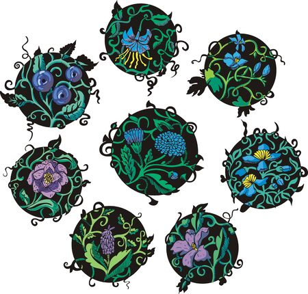Round blue flower designs. Set of color vector illustrations. Stock Vector - 15101444