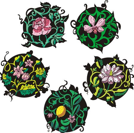 Round pink flower designs. Set of color vector illustrations. Stock Vector - 15101437