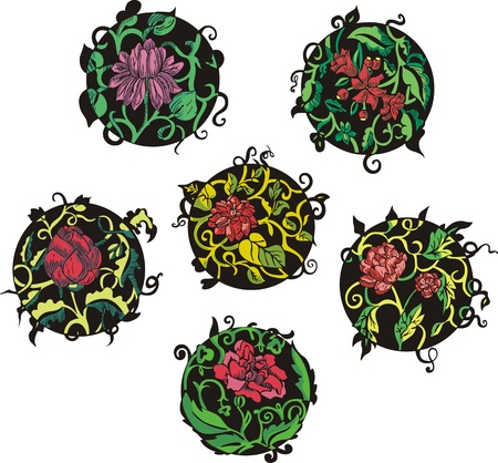 Round red flower designs. Set of color vector illustrations. Stock Vector - 15101440