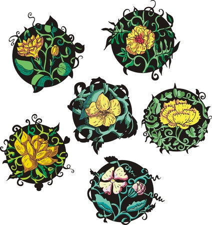 Round yellow flower designs. Set of color vector illustrations. Stock Vector - 15101443