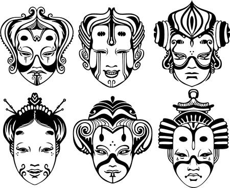 melancholy: Japanse Tsure Noh Theatrale maskers. Set van zwart en wit vector illustraties.