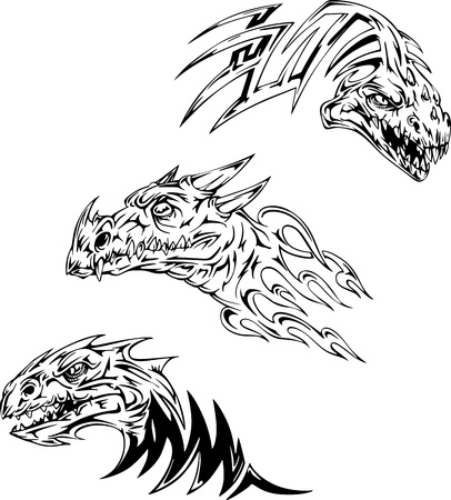 Dinosaur tattoos. Set of black and white vector illustrations. Vector