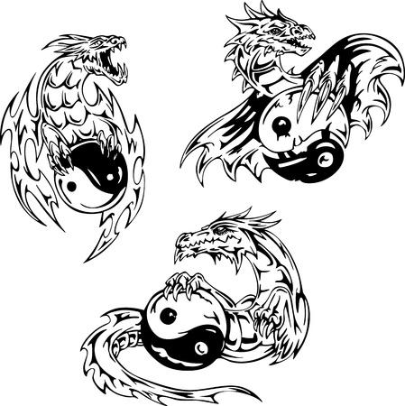 Dragon tattoos with yin-yang signs. Set of vector illustrations. Stock Vector - 15783276