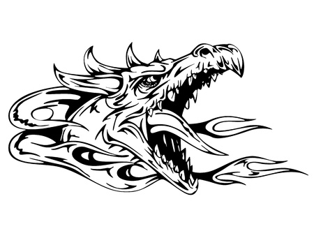 black and white dragon: Dragon head. Black and white vector illustration.
