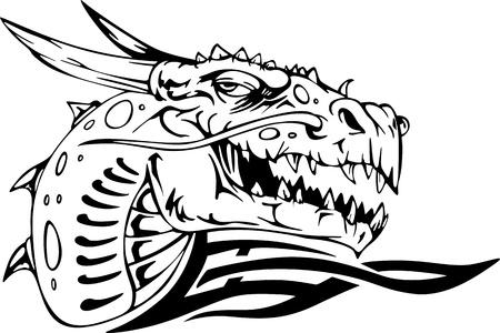 cabeza de dragon: Drag�n cabeza. Negro y blanco ilustraci�n vectorial. Vectores