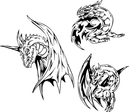 Dragon tattoos. Set of black and white vector illustrations. 向量圖像