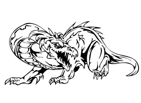 Dragon tattoo. Black and white vector illustration. 向量圖像