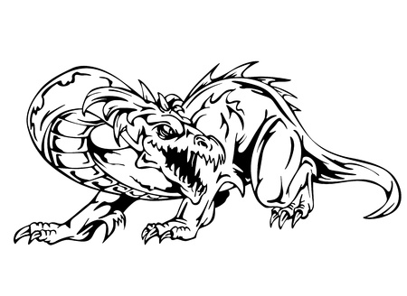 Dragon tattoo. Black and white vector illustration. Vector
