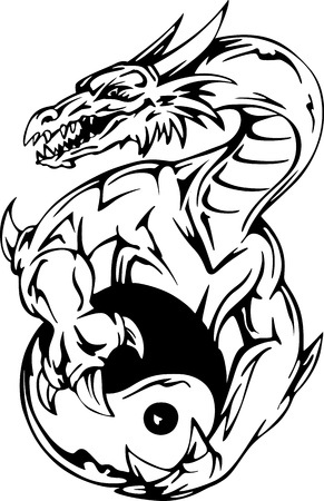 Dragon tattoo with yin-yang sign. EPS vector illustration. Vector