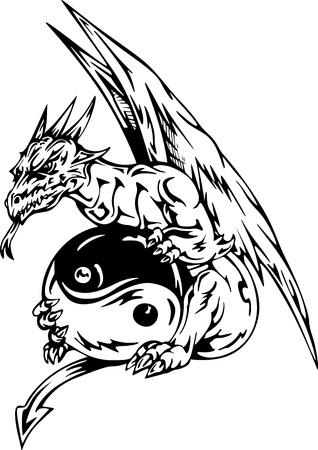 tatuaje dragon: Drag�n del tatuaje con yin-yang firmar. EPS vector illustration.
