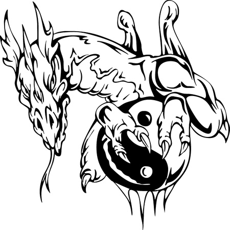 Dragon tattoo with yin-yang sign. EPS vector illustration. Stock Vector - 15783273