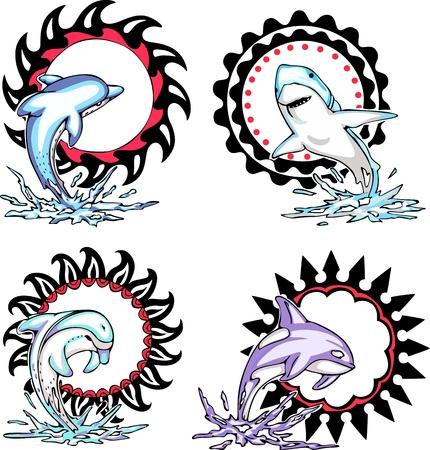 dolphin: Totems - zeedieren met zonne-borden. Set van vector illustraties. Stock Illustratie