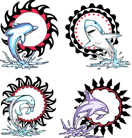 Totems - sea animals with solar signs. Set of vector illustrations.