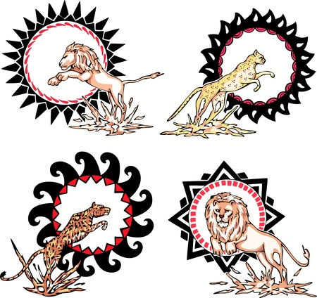 Totems - lions and leopards with solar signs. Set of vector illustrations. Vector