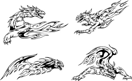 Dragon tattoos with flames. Set of black and white vector illustrations. Vector