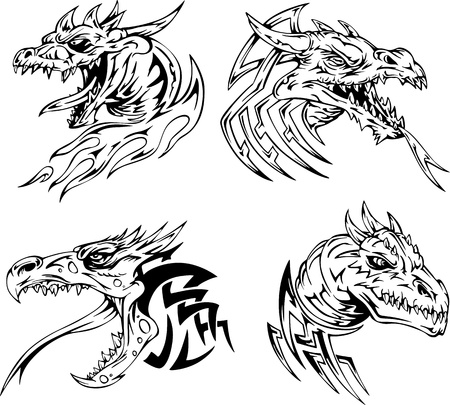 cabeza de dragon: Tatuajes del drag�n de la cabeza. Conjunto de ilustraciones del vector blanco y negro.