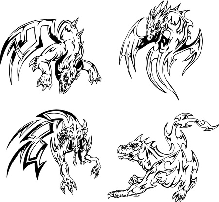 Dragon tattoos. Set of black and white vector illustrations. Stock Vector - 15783350