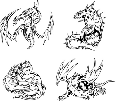 Dragon tattoos. Set of black and white vector illustrations. Stock Vector - 15783360
