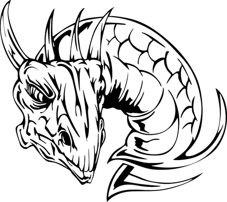cabeza de dragon: Drag�n del tatuaje cabeza. Volver y las ilustraciones, blanco, vector.