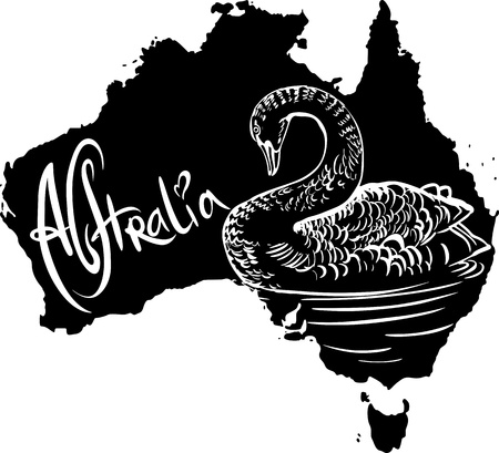 Black swan (Cygnus atratus) on map of Australia. Black and white vector illustration. Vector