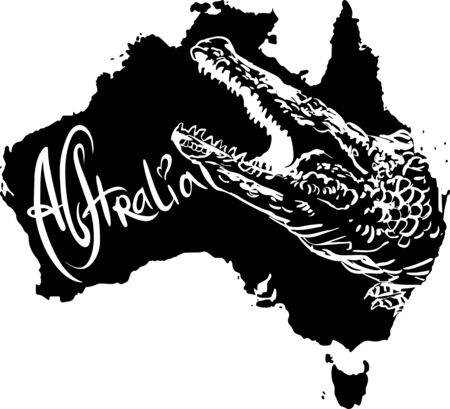 Crocodile on map of Australia. Black and white vector illustration. Stock Vector - 15783312