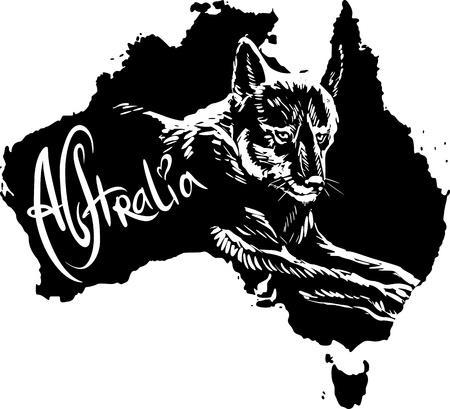 predatory: Dingo on map of Australia. Black and white vector illustration. Illustration