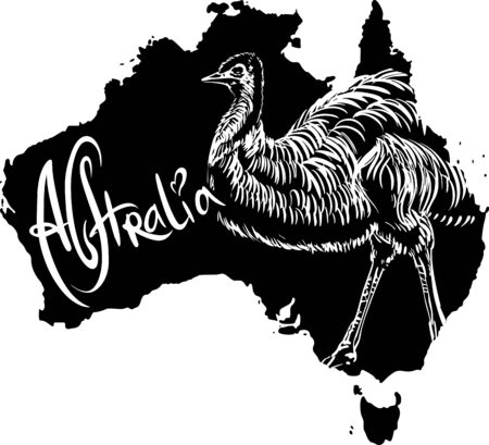 emu: Emu (Dromaius novaehollandiae) on map of Australia. Black and white vector illustration.