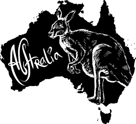 Kangaroo on map of Australia. Black and white vector illustration.