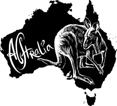 Kangaroo on map of Australia. Black and white vector illustration. Stock Vector - 15783335