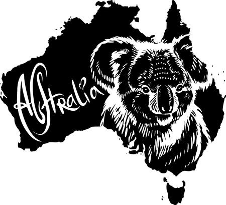 koalabeer: Koala (Phascolarctos cinereus) op de kaart van Australië. Zwart-wit vector illustratie.