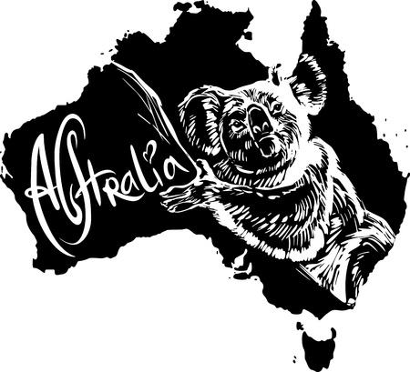 koala: Koala (Phascolarctos cinereus) on map of Australia. Black and white vector illustration.