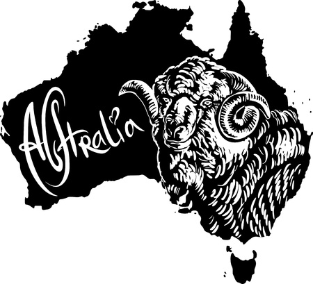 Merino ram on map of Australia. Black and white vector illustration. Vector
