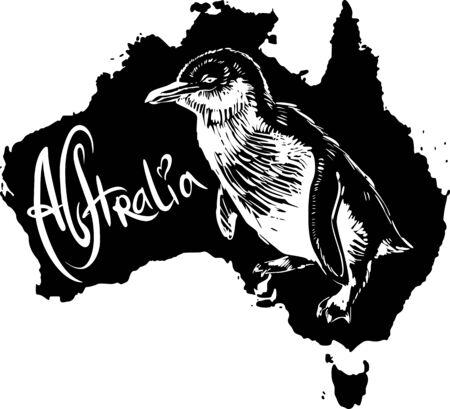 minor: Little penguin (Eudyptula minor) on map of Australia. Black and white vector illustration.