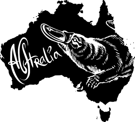 Platypus (Ornithorhynchus anatinus) on map of Australia. Black and white vector illustration. Stock Vector - 15783314